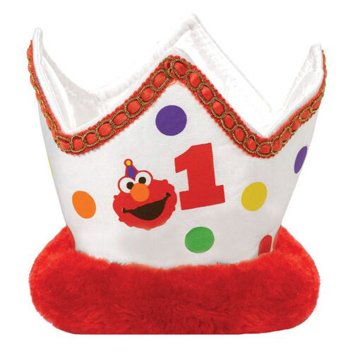 Sesame Street 1st Birthday Elmo Turns One Crown First Party Supplies Favor Red