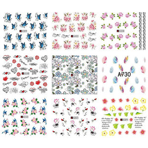 50Sheets-Lot-PROMOTION-Mix-Flower-Styles-Water-Transfer-Nail-Art-Stickers