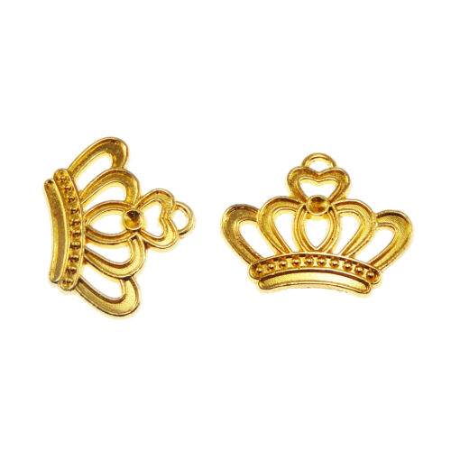 Antiqued Style Gold Tone Alloy Crown Pendant Charm 22*19*3mm 45PCS