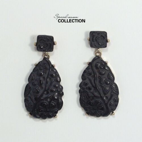 Boucles d/'Oreilles Class Clou Noir Goutte Fleur Gravure Pendante Vintage YW5