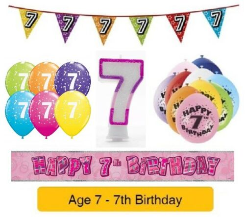 Happy 7th Birthday AGE 7 Party Balloons Banners Badges & Decorations Helium GIRL