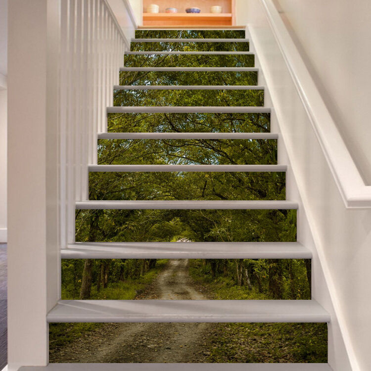 3D Forest Road 118 Stair Risers Decoration Photo Mural Vinyl Decal Wallpaper AU