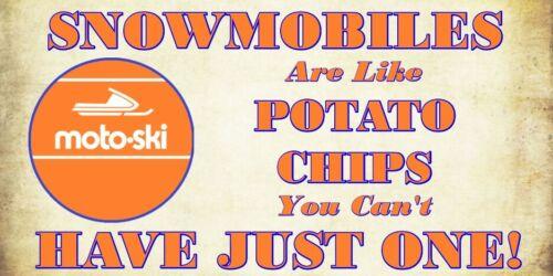 Moto Ski snowmobile and potato chips vinyl decal