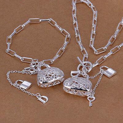 XMAS free shipping sterling silver bag&lock Necklace & Bracelet YS003 +box
