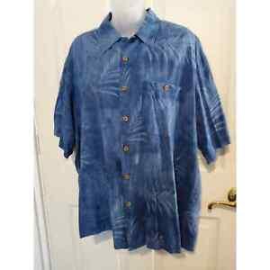 Banana Cabana Herren Größe Large Blue Hawaiian Silk Kurzarm Knopfleiste Hemd