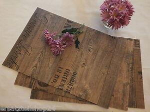 exlusives tischset holzdekor antik abwaschbar rutschfest platzset pvc 11 ebay. Black Bedroom Furniture Sets. Home Design Ideas