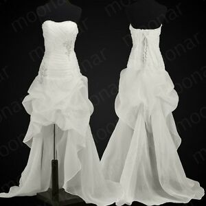 Stock-White-Embellished-Wedding-Gown-Short-Bridesmaid-Bride-Dress-4-6-8-10-12-14