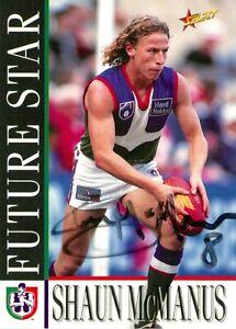 Signed-1996-FREMANTLE-DOCKERS-AFL-Card-SHAUN-MCMANUS-Future-Star