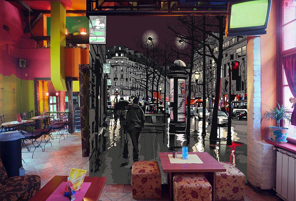 3D Città Notte 66 Parete Murale Foto Carta da parati immagine sfondo muro stampa