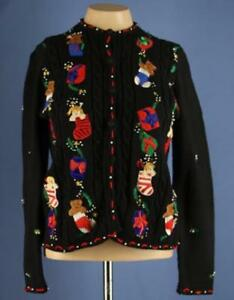 Ugly-Holiday-Christmas-Sweater-Bears-Stockings-amp-Presents-Size-Petite-Small