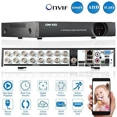 16CH Channel CCTV Video Recorder 1080N AHD TVI DVR HVR NVR CCTV HDMI P2P EU G8J9