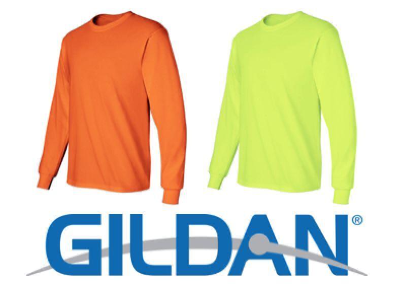 24 LONG SLEEVE T-SHIRTS 12 SAFETY GREEN 12 SAFETY orange BULK S-XL Gildan 2400