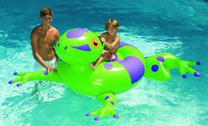 Swimline 90623 Swimming Pool Kids Inflatable Giant Rideable Frog Float Toy 74