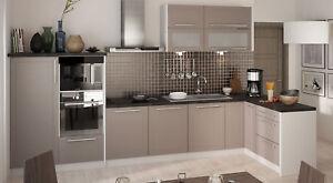 Küchenzeile Küchenblock Küche komplett 330x150cm grau / beige matt ...