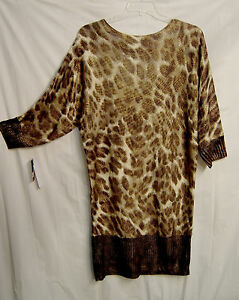 bfc213714796 BABY PHAT LEOPARD SHIMMER STRAP BACK DOLMAN SWEATER DRESS LONG TOP~L ...