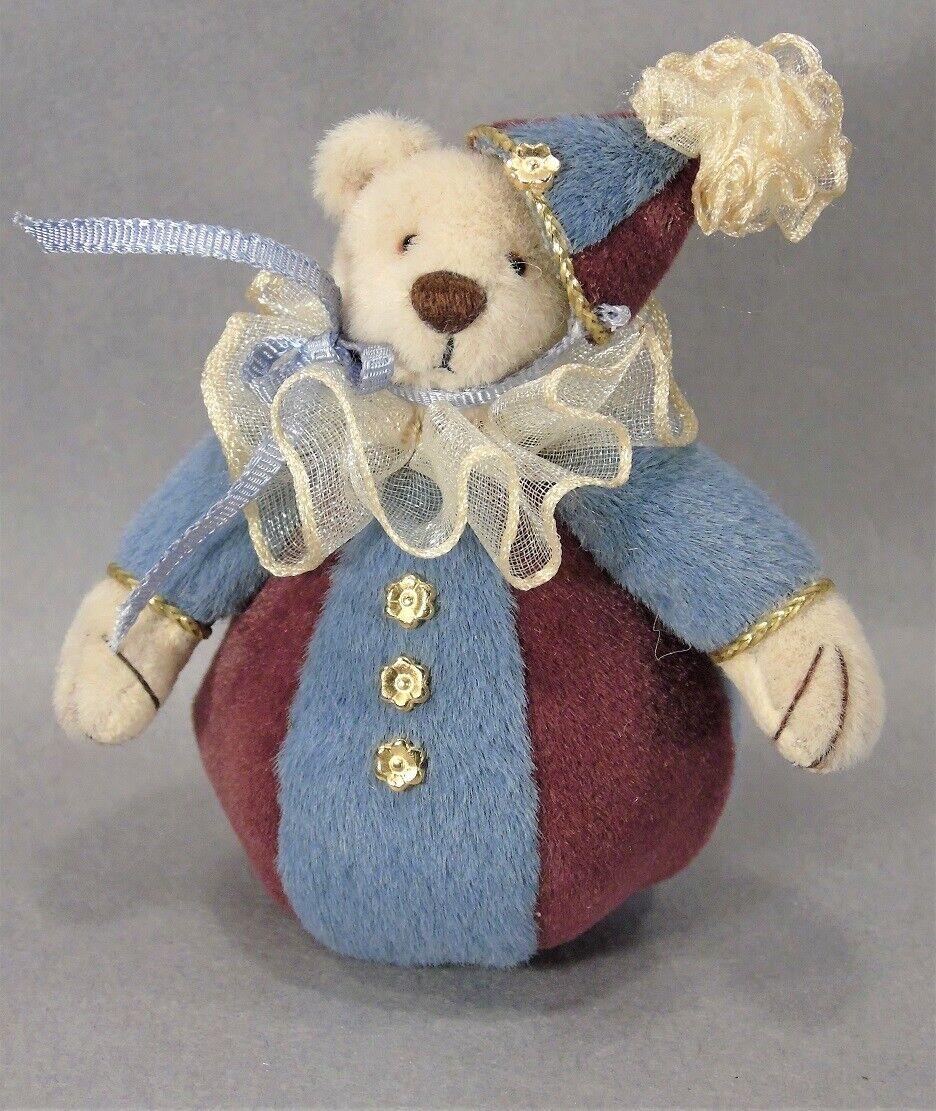 Miniature jointed 3  Cniedrign Roly-Poly Teddy Bear 2004 by artist Beth Diane Hogan