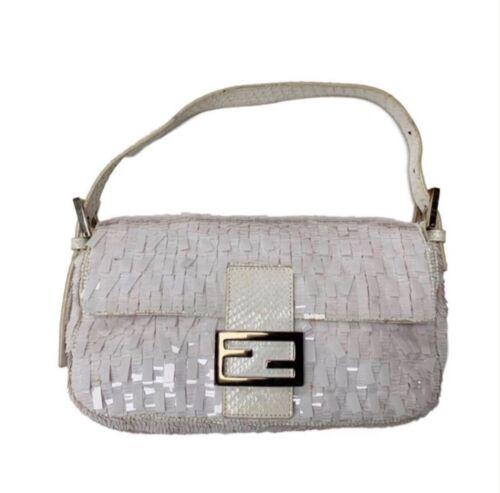 Fendi White Sequined Baguette Bag