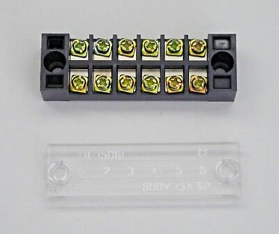 BBT 15 amp 600 volt 6 Circuit Terminal Block w//Clear Safety Cover #TB-1506L