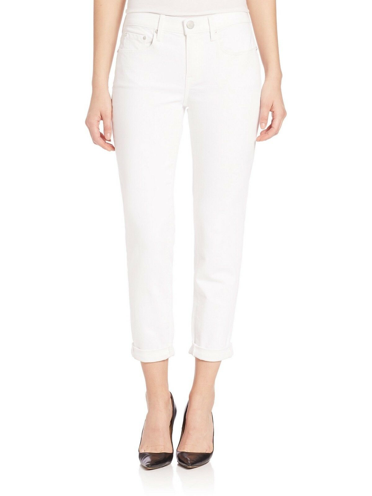 NWT Vince Mason Relaxed Rolled Cuff Jean, White, sz 28,  220