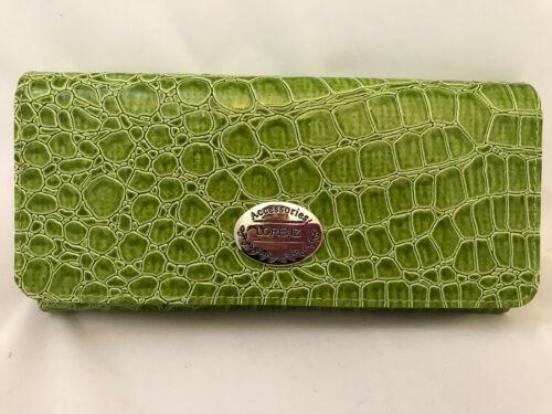 3 Colours Crocodile Skin Effect Card Holder Lorenz PU Flapover Purse