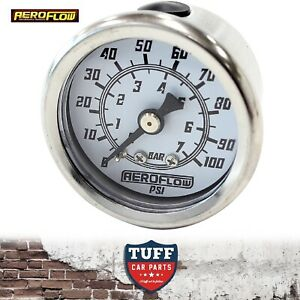 Aeroflow-White-0-100-PSI-EFI-Fuel-or-Oil-Pressure-Gauge-1-5-034-38mm-1-8-034-NPT