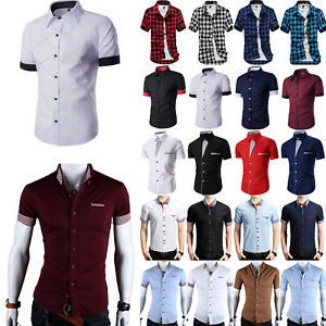 Stylish-Mens-Formal-Business-Dress-Shirt-Casual-Short-Sleeve-Slim-Fit-Top-Blouse
