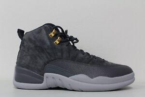 10a4e658505 Nike Mens Air Jordan 12 Retro Dark Grey Wolf Gray Suede 130690 005 ...