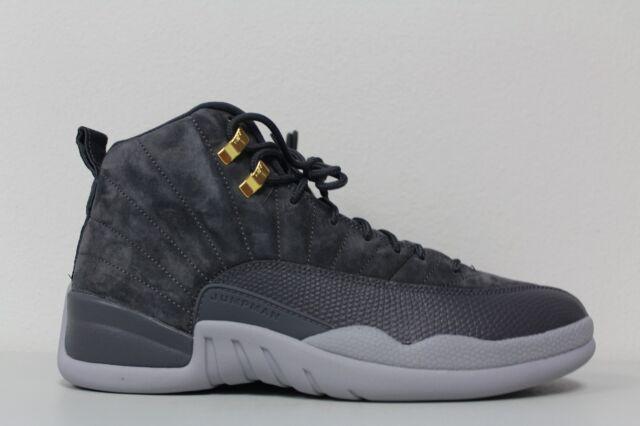 62563c59841 Nike Mens Air Jordan 12 Retro Dark Grey Wolf Gray Suede 130690 005 Size 12