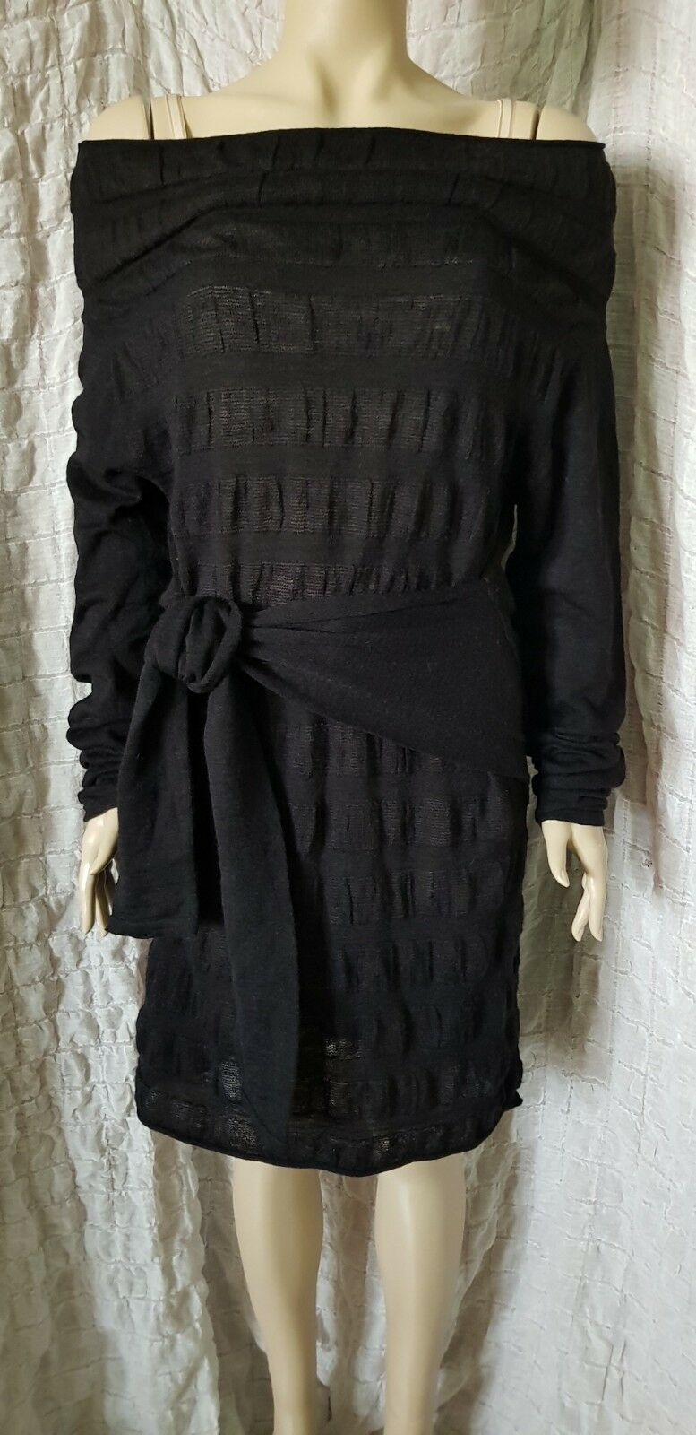 BITTE KAI RAND avantgarde schwarz knitted four sleeved funnel dress Größe L
