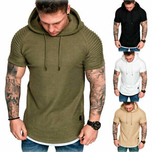 Mens-Slim-Fit-Short-Sleeve-Shirts-Hooded-Muscle-Tops-Hoodie-Casual-Basic-T-shirt