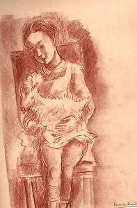 Hermine-DAVID-Portrait-034-garconnet-et-son-chien-034-sanguine-1935-signee-PASCIN