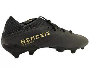 NIB-Adidas-Nemeziz-19-1-FG-soccer-boots-size-9-Black-with-Gold-details