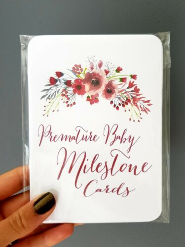 C1 Floral Premature Baby Milestone Cards Premmie NICU Baby Shower Photo Prop