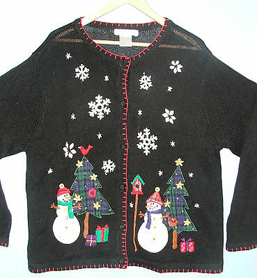 Victoria Jones (Ugly) Christmas Snowmen Women's Cardigan Sweater Cotton Blend XL