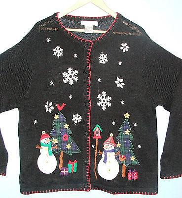 Victoria Jones (Ugly) Christmas Snowmen Women's Cardigan Sweater Cotton Blend XL