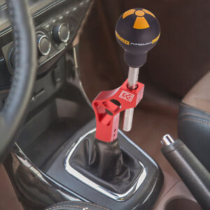 Red-Aluminum-Adjustable-Car-Gear-Shifter-Shift-Knob-Extender-Extension-w-Lever