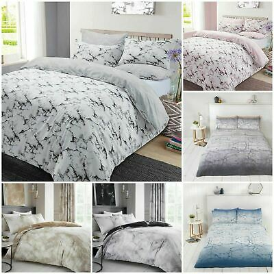 Marble Design Printed Polycotton Duvet Cover Set with Pillow Cases Bedding Set