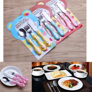 3pcs/set Lovely Kids Cartoon Stainless Steel Fork Spoon Cutlery Utensil Set Sale