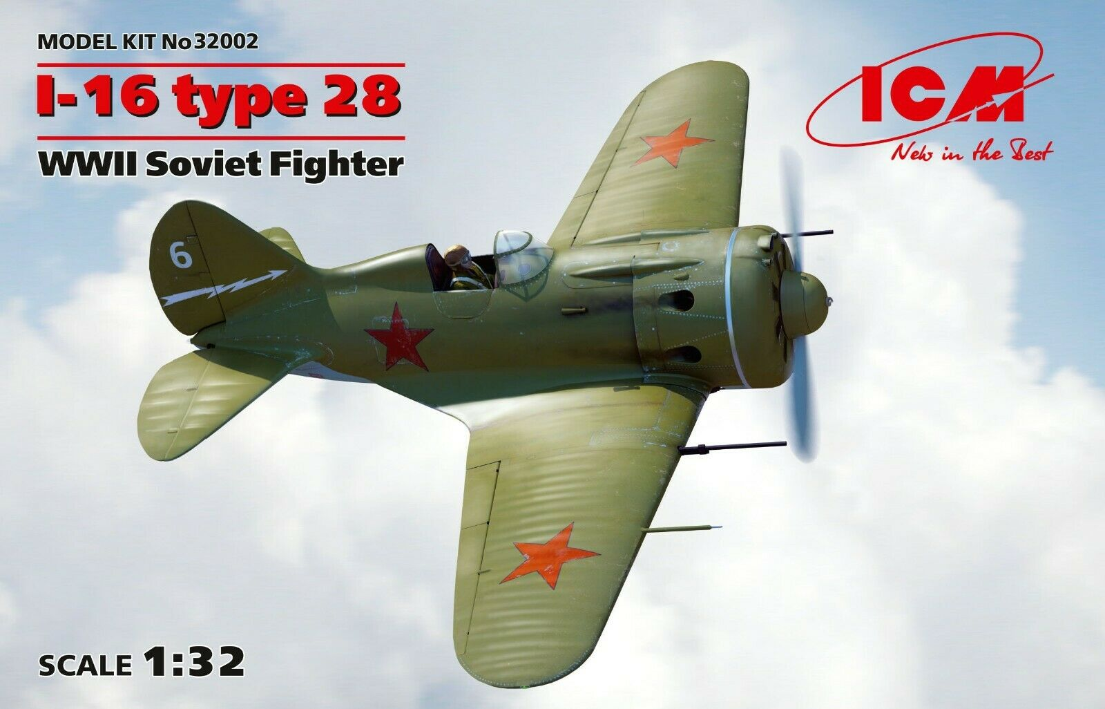 ICM 32002 I-16 type 28, WWII Soviet Fighter 1 32 scale model kit 191 mm