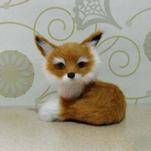 Realistic Stuffed Animal Soft Plush Kids Toy Sitting Fox Home Decor 9*7*8cm