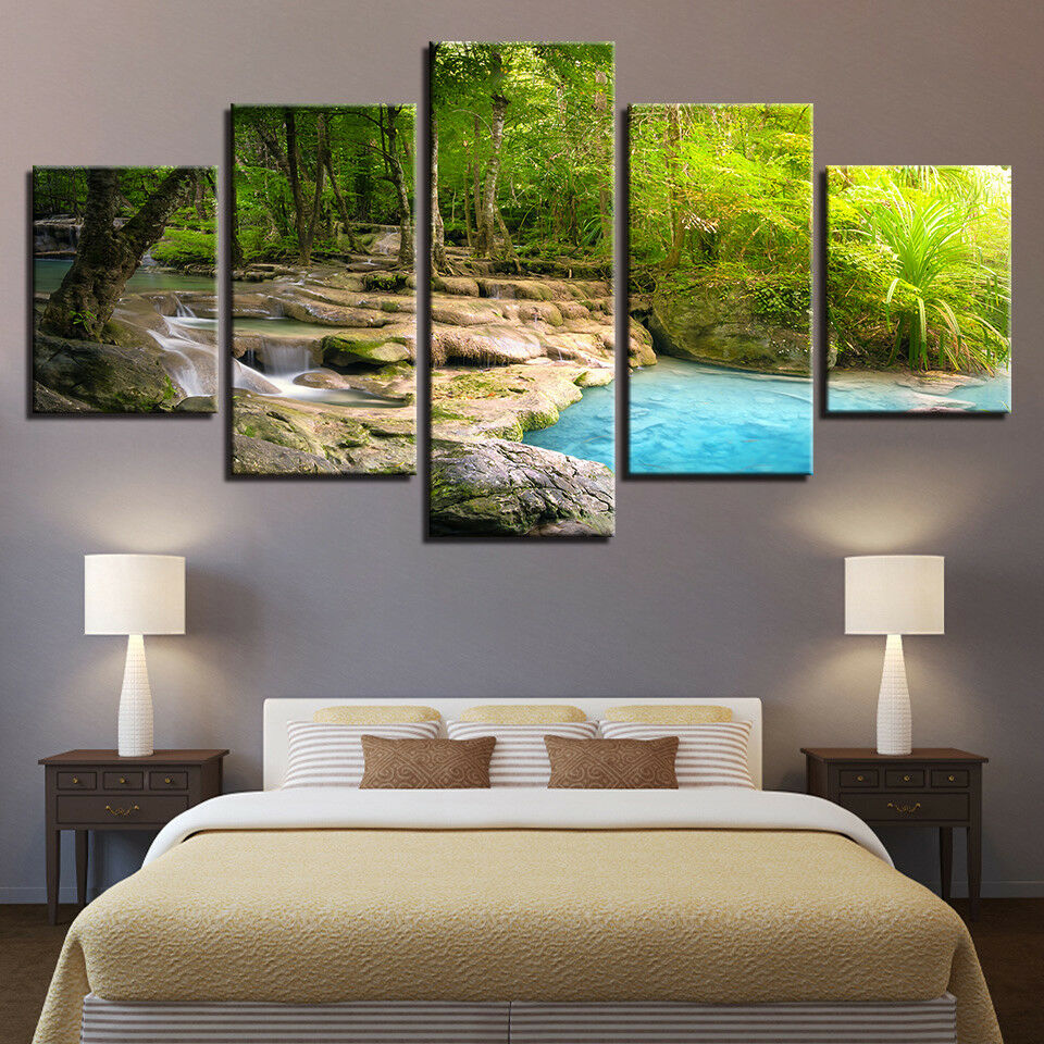Forest River Stream Flows Landscape 5 Panel Canvas Print Wall Art Poster Decor