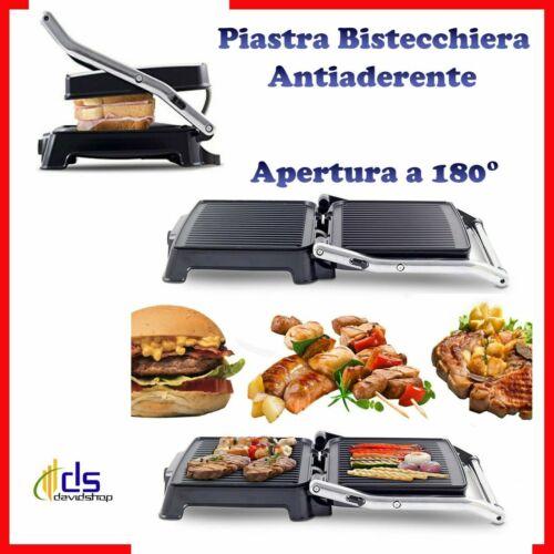 piastra bistecchiera con griglia elettrica antiaderente doppia 180° cucina toast