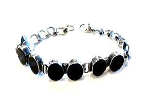 Bijou-argent-925-bracelet-medaillons-lucite-noire-bangle