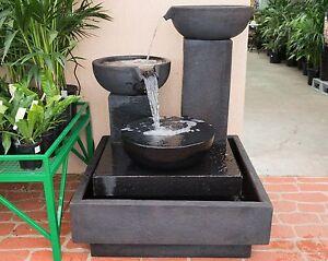 Large-Outdoor-Patio-Garden-Water-Feature-Trio-Cascading-Cup-Fountain-Black