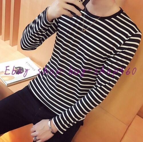 Summer Men/'s Fashion Round Collor Black White Stripe Long Sleeve Slim T-shirt
