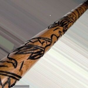 Carved-Dragon-Bo-Staff-Martial-Arts-Karate-Training-Practice-Red-Oak-NEW-2-Sizes