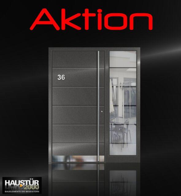 Aluminium Haustür Alu Haustüren inkl. Edelstahlgriff 600 mm flügelüberdeckend