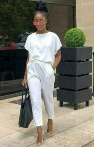 Ladies-Womens-Short-Sleeve-Boxy-Lounge-Wear-Tracksuit-Set-Casual-Comfy-Two-Piece