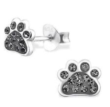 Sterling Silver 925 Grey Crystal Dog / Cat Paw Print Stud Earrings