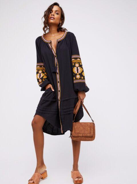 Vintage Women Embroidery Tunic Uneven Linen Boho Hippie loose Long party Dress